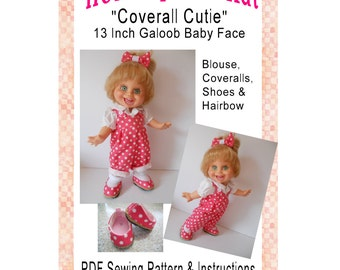Galoob Baby Face 13 Inch Doll Clothes Coverall Cutie  Galooberalls Hairbow Shoes PDF Digital Download Sewing Pattern