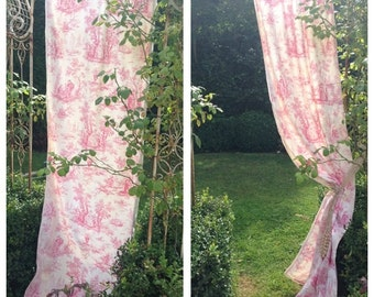 Beautiful vintage French pretty pink toile single curtain with trim