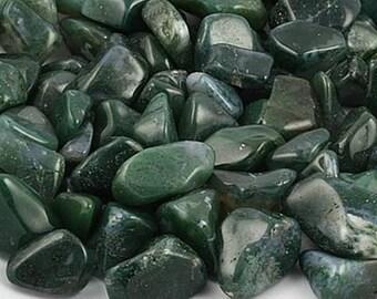 Moss Agate Tumbled Stones, Green Moss Agate Stone, Natural Polished Gemstones, Crafts, Reiki, Healing Crystal, Balancing Stone, Abundance