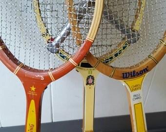 Three Vintage Tennis Rackets