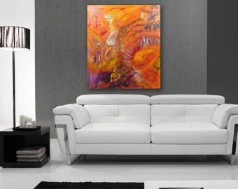 Original Abstract Paintings, oil on canvas, modern art - In the distance