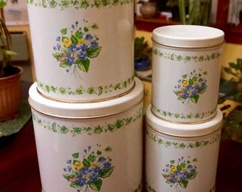 Shabby Chic; Tin Canisters; Set of Four; With Lids; Nostalgic !!!