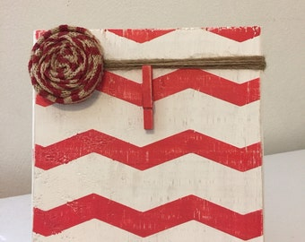 Red and White Chevron Rustic Wood Photo Frame with Burlap Rosette