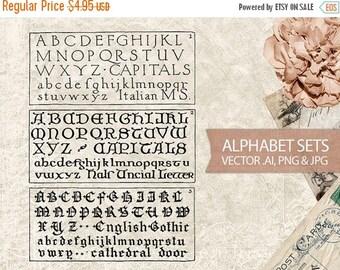 50% OFF SALE Vector Alphabet Set - Antique Letters Typography - Digital Vintage Alphabet Letters Fonts - AI Vector File, png & jpg Instant D