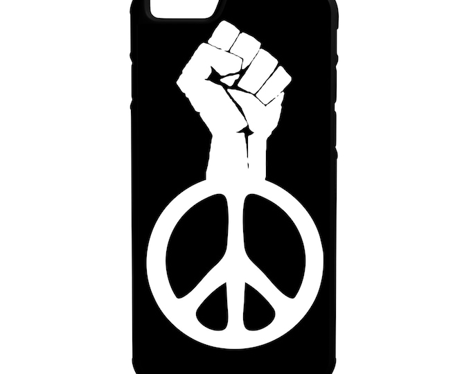 Raised Fist Peace Symbol iPhone Galaxy Note LG HTC Protective Hybrid Rubber Hard Plastic Snap on Case Black Black Lives Matter