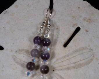 Amethyst and Swarovski Crystal Bead Earrings