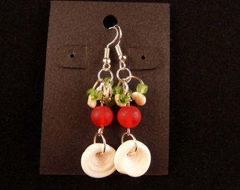 Sea Shell and Cultured Sea Glass Chistmas Earrings