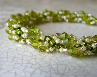 Bright Lime Green Bracelet, Vintage Style Crystal Bracelet, Chartreuse Beaded Bracelet, Lime and Peach Beadwork Jewelry, Gift for Her