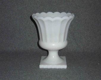 Vintage Milk Glass Ribbed Pedestal Planter With Scalloped Edge,Home Decor, Wedding