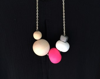 Polymer and wooden bead necklace