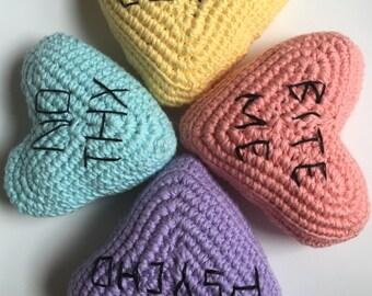 Pastel Grunge Crocheted Conversation Hearts