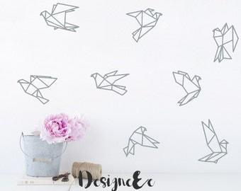 "Wall Stickers - 6"" Geometric Birds - Set of 8"
