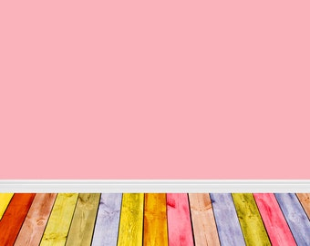 Chic Pink Photography Backdrop with colorful wood Floordrops, Baby Children photobooth backdrop, Newborns vinyl photodrop  XT-4099
