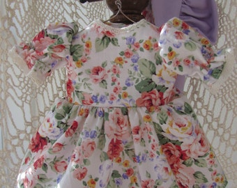 dress, sunbonnet and shoes for prairie doll