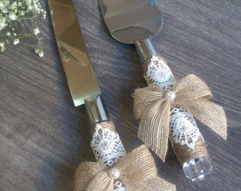 Wedding cake knife set-rustic cake set-Wedding decor-burlap wedding set
