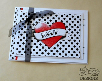 SAMPLE Wedding Invitation & RSVP Card Suite Heart and Swallows Rockabilly Tattoo