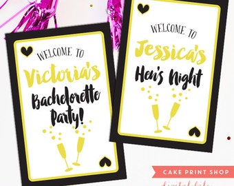 Vegas Bachelorette party decor, printable Bachelorette welcome sign, time to drink champagne, hens party sign, vegas theme bachelorette