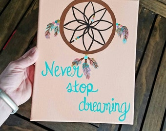 Tribal Wall Art, Never Stop Dreaming, Dream Catcher, Mint Coral & Gold Theme, Acrylic Painting on 8x10 Canvas, Tribal Nursery, Tribal girls