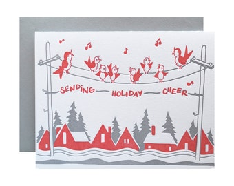 Letterpress Christmas Card, Vintage Inspired, Single Card, Holiday Cheer, 50s, Red and Grey Birds, Retro, Birdies, Holiday Tunes, Kitchy