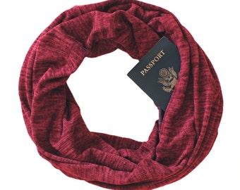 Soda Springs Brick Scarf W/ Hidden Pocket - travel, gift, passport scarf, hidden pocket scarf, infinity scarf, black friday, christmas