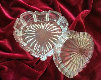 Vintage Pressed Glass Heart Jewelry box, candy dish