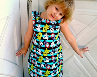 Nightmare Before Christmas Flutter sleeve DRESS Kawaii stripe baby toddler kids clothes