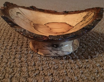 Hand turned Maple Bowl with natural bark rim.  8.5 x6.5 inches.