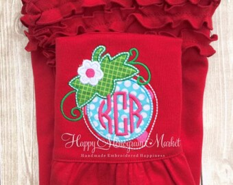 Monogrammed Strawberry Applique Summer Tank Top Dress Sleeveless Red Ruffles personalized