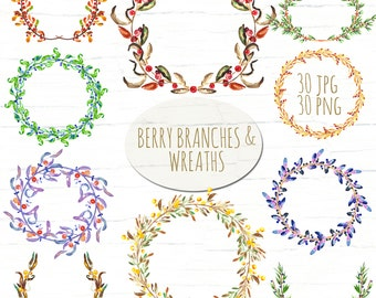 SALES - 50% Berry wreaths and branches. Watercolor clip art hand drawn. branches, wedding invitation, olives, rosemary, laurel wreaths