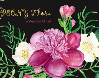 Peony flora compositions clip art, Digital Watercolor clipart hand drawn. Peony, garden wedding, bright, pink fucshia flowers invitations