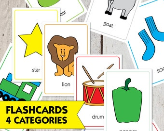 80 First Words Flash Cards  |  Baby Toddler Flash Cards - 4 Categories  |  Digital Download  |  2.5x3.75""