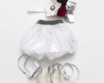 "18"" Doll Clothes, Doll Clothes 18"", Girl Doll Clothes, Silver Dot Bubble Skirt, Gifts for Girls, Gifts for Babies, Stocking Stuffer"