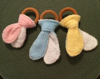 Natural Wooden and Terry Cloth Teething Ring **Choose Your Color!**