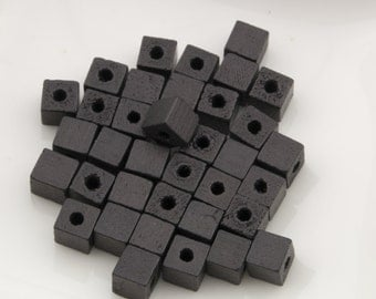 Vintage Small Black Natural Wood Cube Beads 5mm 36pcs for Jewelry and Crafts 10208004