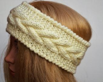 White Ear Warmer,Knitted Winter Headband ,Knit and Crochet Headband, Ear Warmer,Brown Headband,Crochet Headband,Knit Turban Headband