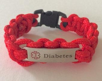 Paracord Diabetes Medical Alert Bracelet