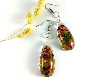 Fall earrings Brown earrings Red earrings Green earrings Autumn earrings Real flower jewelry Woodland earrings Fall leaves Long drop