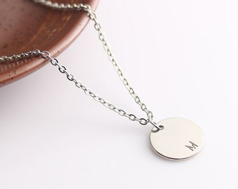 Silver Disc Name Necklace, Personalized Initials Monogram Disc Necklace, Simple Gold Necklace, Personalized Gift Idea