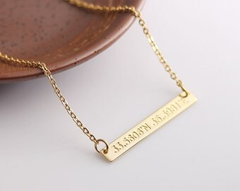 Custom Coordinates Necklace, Coordinates Bar Necklace, Location GPS Coordinates, Latitude Longitude Bar Jewelry, Gift for Her