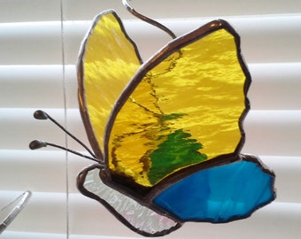 Stained Glass Butterfly-Sun Catcher on Coiled Hanger-Yellow and Teal