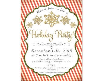 Printable Holiday Party Invitations, Christmas Party Formal Dinner, Company Holiday Gift Exchange, Red and White Candy Cane Stripes and Gold