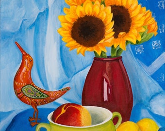Still life print, sunflowers, lemons, limited edition, hand signed by artist