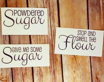 Sugar and Flour Canister Decals- Set of 3 Kitchen Decals