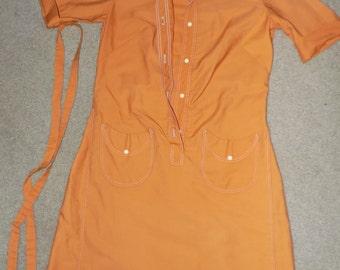 Vintage Orange Stockton Jumper Dress Large 60s 70s Koratron