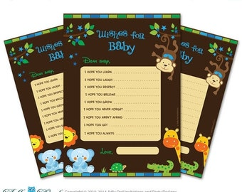 Boy Jungle Wishes for a Baby Shower, Well Wishes Lion, Giraffe Baby Jungle Shower DIY Brown Green- ONLY digital file - aa63bs6