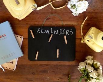 Chalkboard reminder board/fridge organisation/clipboard/reminders/pegs
