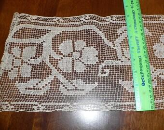 2 1/2 Yards 8 Inch Wide Antique Vintage Filet Lace Trim
