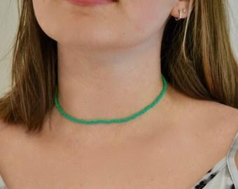 Turquoise Seed Bead Choker Necklace // Choker // Beaded Choker // Turquoise Necklace // Beaded Choker Necklace