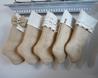 Neutral Burlap Christmas Stocking