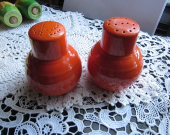 Vintage Fiesta Orange Salt & Pepper Shakers Pottery